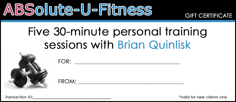 Printable gift certificates absolute u fitness for Personal trainer gift certificate template